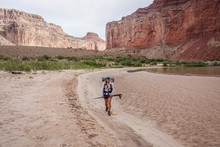Woman Hiking In Grand Canyon, Arizona, USA