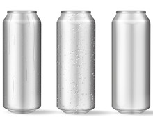 Realistic Aluminum Cans With Water Drops
