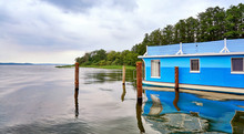 Schwerin Lake With Blue Houseboat In Mecklenburg-Vorpommern. Germany