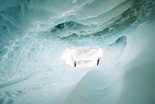 A Tunnel Through An Iceberg Stuck In The Frozen Surface Of The McMurdo Sound In The Ross Sea Region Of Antarctica.