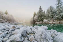 Frost On Banks Of Taylor River, British Columbia, Canada