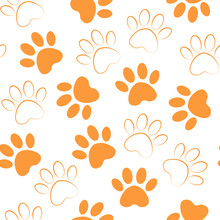 Paw Orange Print Seamless. Vec...