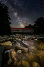 The Milky Way Over The Albany Covered Bridge In The White Mountains