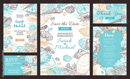 Fototapeta Save the Date party invitation, marine sketch menu obraz