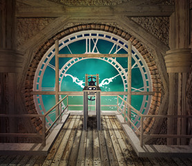 Panel Szklany 3D Behind a big steampunk clock in an empty room made of wood - 3D illustration