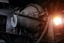 Old Rusty Dirty Industrial Concrete Mixer In Abandoned Cement Plant