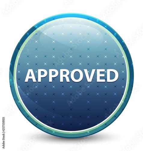 Fotografia, Obraz  Approved shiny sky blue round button