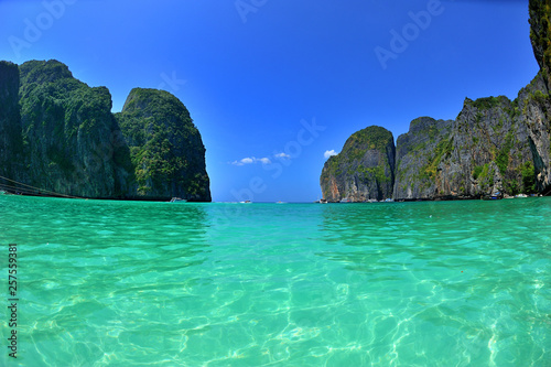 Wall Murals Green coral Beautiful bay in Thailand