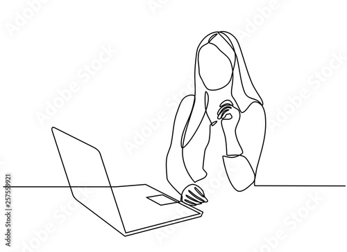 Obraz continuous line drawing of professional young business woman using mobile digital tablet computer work and writing work plan on personal notebook isolated on white background - fototapety do salonu