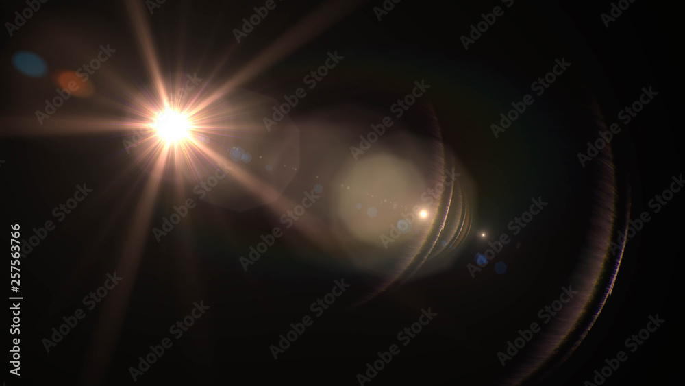 Fototapety, obrazy: Lens flare  glow light effect  on black background. Easy to add overlay or screen filter over photos