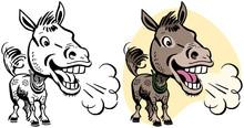 A Cartoon Of A Braying Donkey.