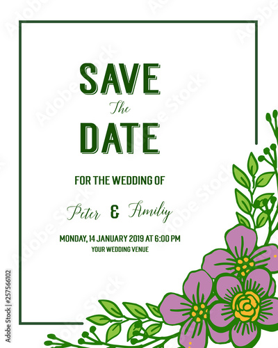 Wall Murals Retro sign Vector illustration various texture purple flower frame for elegant wedding invitation cards
