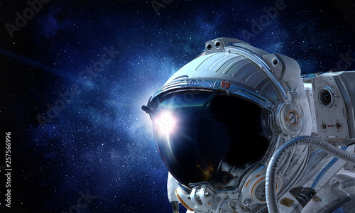Canvas Print Astronaut pioneer doing research. Mixed media