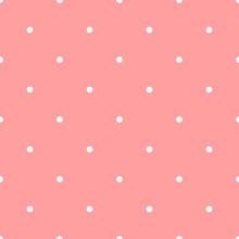 Polkadot White Seamless Pattern  Pink Background