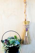 Witch's Broom & Cauldron