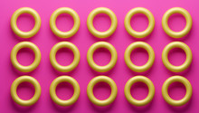 3d Illustration Of Yellow Torus In Pink Background. Rendering Trendy Abstract