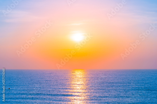 Foto auf Leinwand Rotglühen Beautiful landscape of sea ocean for leisure travel and vacation