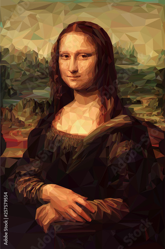 Cuadros en Lienzo Mona Lisa La Joconde - Leonardo da Vinci painting in Low Poly style