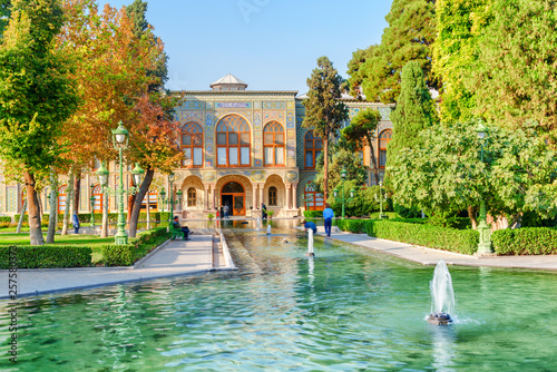 Beautiful view of the Golestan Palace and fountains in Tehran