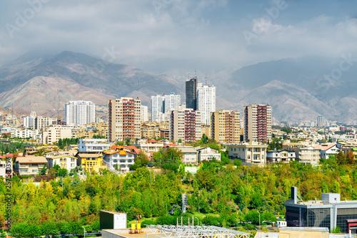 Wonderful view of Tehran, Iran. Colorful residential buildings