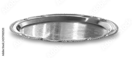 Obraz na plátně empty silver tray isolated on white