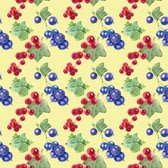 Seamless  pattern of currant  and gooseberry on a yellow background