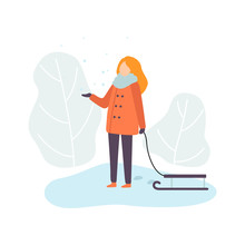 Girl Wearing Warm Winter Clothes Standing With Sledge, Winter Season Outdoor Activities Vector Illustration