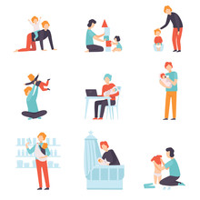 Fathers Taking Care Of Their Babies Set, Young Dads Feeding, Playing, Having Fun And Working With Son Or Daughter Vector Illustration