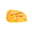 A piece of yellow gouda cheese isolated on white background