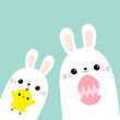 Two rabbit bunny friends holding painting egg, chicken bird. Happy Easter. Cute cartoon kawaii funny baby character set. Farm animal. Blue pastel background. Flat design