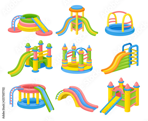 Colorful inflatable slides concept. Vector flat illustration. Canvas Print