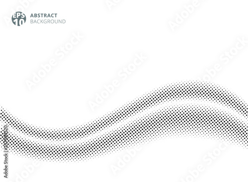 Fototapety, obrazy: Abstract wave silk satin on white background halftone style for design. dots pattern.