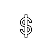 Dollar Outline Icon Vector