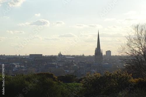 Poster Cracovie Dusk views of Norwich from Mousehold Heath, including Norwich Cathedral
