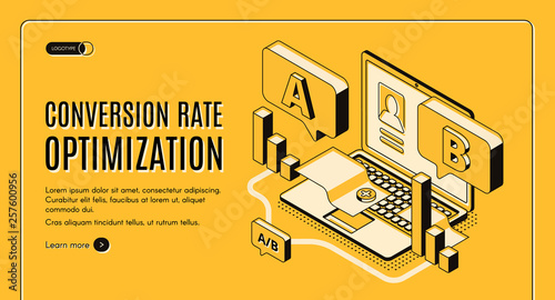 Obraz Conversion rate optimization online service isometric vector web banner with A B split testing results on laptop screen illustration. Internet marketing, e-commerce seo startup landing page template - fototapety do salonu
