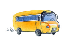 Bus Yellow Watercolor Cute Ill...