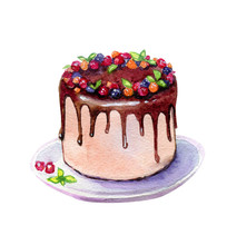 Chocolate Cake With Berries Watercolor Illustration Isolated On White. Cake On Dish Isolated.