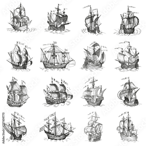 In de dag Schip Old caravel, vintage sailboat. Hand drawn vector sketch.