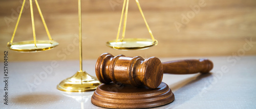 Obraz Law and Justice concept on wooden background - fototapety do salonu