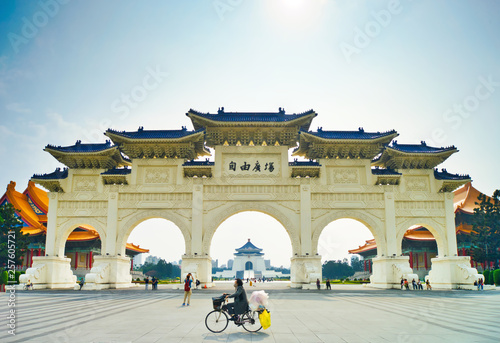 Chinese arch gate in front of liberty square. Canvas Print