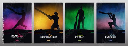 Obraz na płótnie Set of Cricket Championship banners or posters, design with players and bats