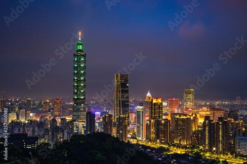 фотография  Taipei skyline at twilight time.