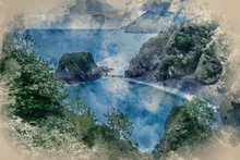 Watercolour Painting Of Beautiful Dramatic Sunrise Landsape Image Of Small Secluded Cove At Combe Martin Bay