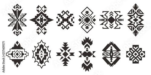 Foto auf AluDibond Boho-Stil Set of decorative Ethnic elements isolated on white background.