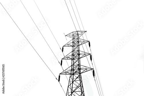 Valokuva  High voltage pole on a white background