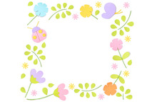 Spring Square Frame Paper Cut ...