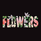 Flowers t-shirt print with letters and floral pattern. - 257618955