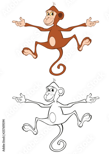 Foto auf AluDibond Babyzimmer Vector Illustration of a Cute Cartoon Character Monkey for you Design and Computer Game. Coloring Book Outline Set