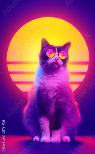 Retro wave synth vaporwave portrait of a cat in sunglasses with palm trees reflection Canvas Print