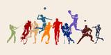 Sport, zbiór sportowców różnych dyscyplin sportowych. Sylwetki na białym tle wektor. Bieganie, piłka nożna, hokej, siatkówka, koszykówka, rugby, baseball, futbol amerykański, kolarstwo, golf